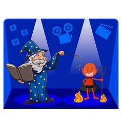 Movie magic with wizard and devil vector image vector image