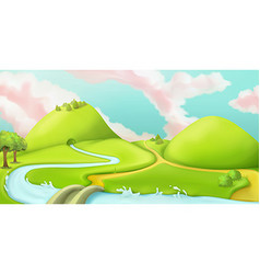 Nature landscape cartoon game background graphic vector image