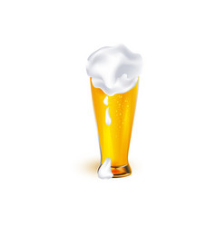 realistic glass of golden beer with foam vector image vector image