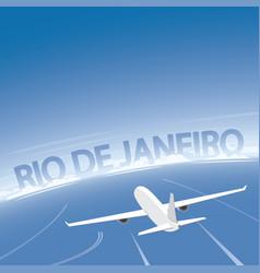 Rio de janeiro skyline flight destination vector
