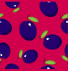 Seamless pattern plum on pink background vector