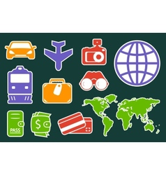 Set colorful icons for travel industry vector