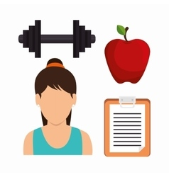 Set fitness girl apple barbell clipboard vector