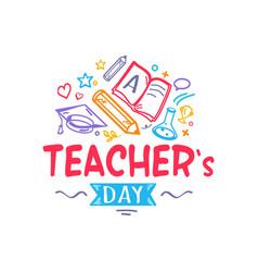 Teacher s day colorful logo vector