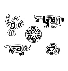 Tribal stylized animals and solar circle vector