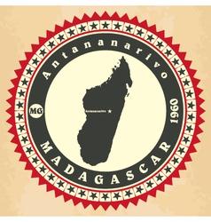Vintage label-sticker cards of madagascar vector