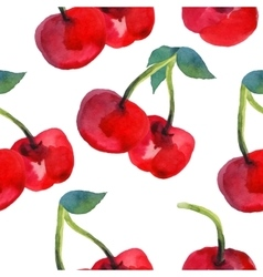 Watercolor cherries seamless pattern vector