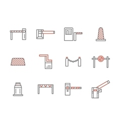 Traffic barriers simple line icons set vector