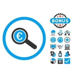 Euro financial audit flat icon with bonus vector