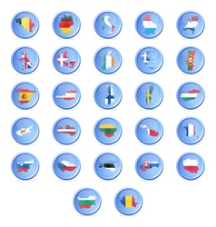 Buttons with flags of the states of the european u vector