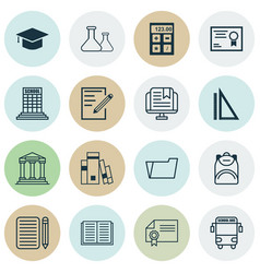 Set of 16 education icons includes opened book vector