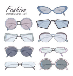 fashion glasses set hand drawn sunglasses vector image