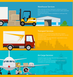 Set of transportation services banners vector