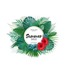 sale round summer sale tropical leaves freme vector image
