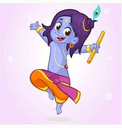 Cartoon little krishna dancing vector