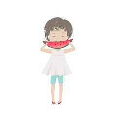 cute cartoon little girl eating watermelon vector image