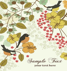 vintage invitation card with birds and flowers vector image