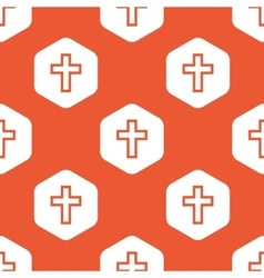 Orange hexagon christian cross pattern vector
