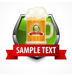 Shield with glass mug of beer vector