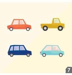 Four city cars transportation set 7 vector