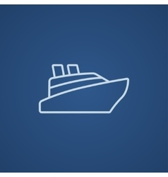 Cruise ship line icon vector