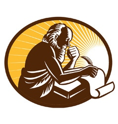 St jerome old male saint writing vector