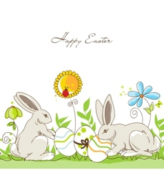Happy easter rabbits vector