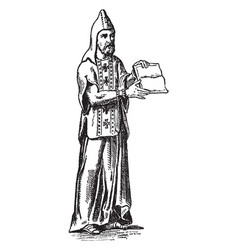 A monk with a pointed hood and crosses on his vector