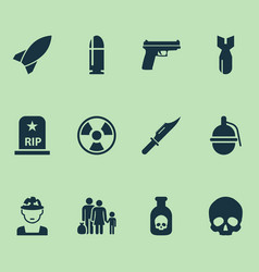 army icons set collection of rip fugitive vector image vector image