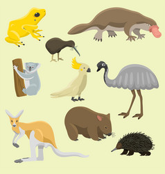 australia wild animals cartoon popular nature vector image