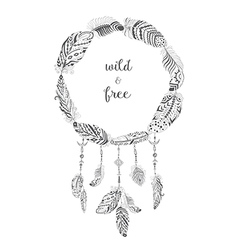 Boho style frame with ethnic arrows and feathers vector