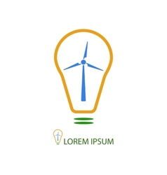Bulb with wind turbine as eco energy sign vector image
