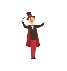 cheerful magician holding magic wand cartoon male vector image