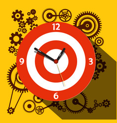 Circle clock face with cogs on background flat vector