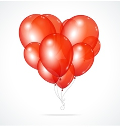 Color glossy balloons heart red vector image vector image