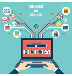 Concept of commerce and savings Internet shopping vector image vector image