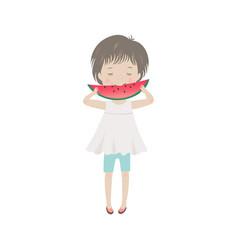 cute cartoon little girl eating watermelon vector image