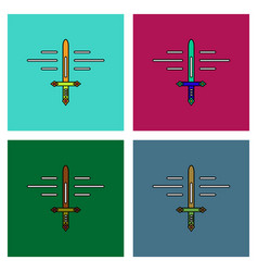 Flat icon design collection ancient sword vector