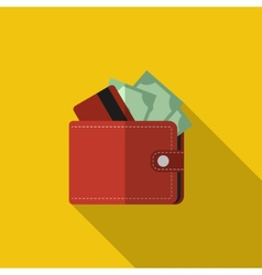 Flat wallet with card and cash with long shadow vector image vector image