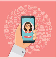 Hand with smartphone chat on background with vector