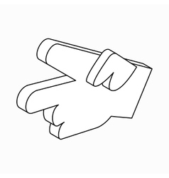 Hand with two fingers icon isometric 3d style vector image