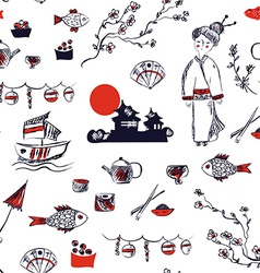 Japan symbols seamless pattern - graphic hand vector