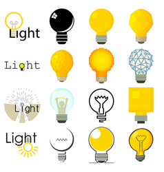 Light lamp icons set cartoon style vector