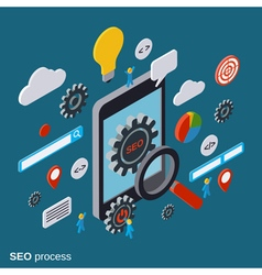 Mobile SEO optimization flat isometric concept vector image