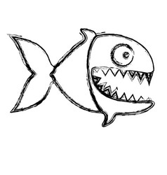 monochrome sketch of piranha with big teeths vector image