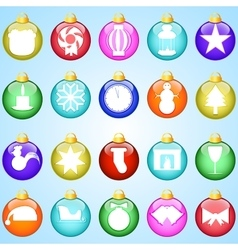 New year icons on colored balloons blue background vector