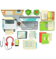 Office worker desk with utilities and stationary vector