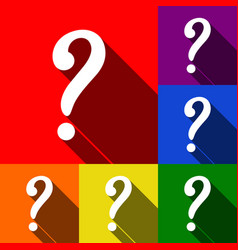 Question mark sign set of icons with flat vector