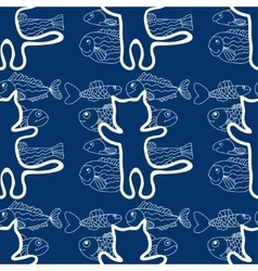 seamless pattern of the cats and fish vector image vector image