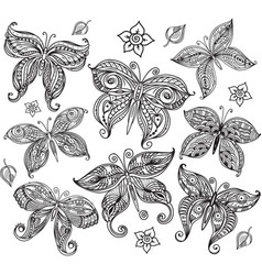 Set of butterfly in doodle style vector
